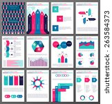 set of twelve pages of ... | Shutterstock .eps vector #263584373
