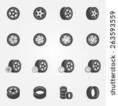tire icons set   vector wheel... | Shutterstock .eps vector #263593559