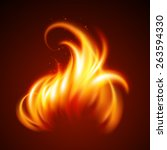 fire realistic background.... | Shutterstock .eps vector #263594330