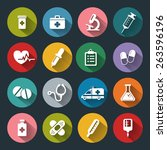 set of vector medical icons in... | Shutterstock .eps vector #263596196