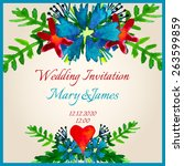 beautiful wedding invitation... | Shutterstock .eps vector #263599859