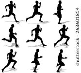 set of silhouettes. runners on... | Shutterstock .eps vector #263601854
