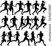 set of silhouettes. runners on... | Shutterstock .eps vector #263601860