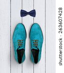 male shoes and bow tie on a... | Shutterstock . vector #263607428