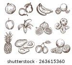 fruit set of twelve parts... | Shutterstock .eps vector #263615360