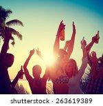 people celebration beach party... | Shutterstock . vector #263619389
