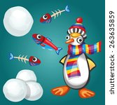funny penguin with fish and...   Shutterstock .eps vector #263635859