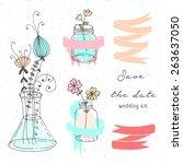 hand drawn doodle boho wedding... | Shutterstock .eps vector #263637050