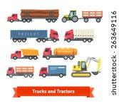 trucks and tractors set. flat...   Shutterstock .eps vector #263649116