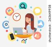 call center operator  vector... | Shutterstock .eps vector #263649938