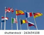 international flags with blue... | Shutterstock . vector #263654108