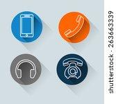 telephone sets  | Shutterstock .eps vector #263663339