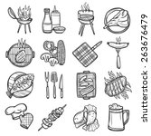 bbq grill sketch decorative... | Shutterstock .eps vector #263676479