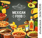 mexican food background with... | Shutterstock .eps vector #263676530