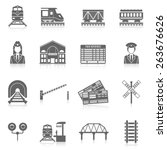 railway icon set black with... | Shutterstock .eps vector #263676626