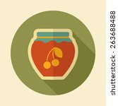cherry jam jar retro flat icon... | Shutterstock .eps vector #263688488