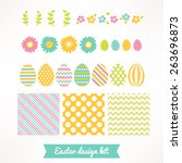 easter design kit with wreathes ... | Shutterstock .eps vector #263696873