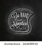 tourist poster with lettering... | Shutterstock .eps vector #263698910