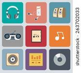 music flat web icon set