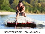 happy handsome man wakesurfing... | Shutterstock . vector #263705219