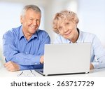 senior adult  computer  couple. | Shutterstock . vector #263717729