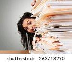 document  over burdened ... | Shutterstock . vector #263718290