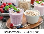 berry smoothie with oatmeal in... | Shutterstock . vector #263718704