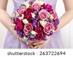 wedding bouquet with roses and... | Shutterstock . vector #263722694