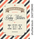 baby shower invitation in retro ... | Shutterstock .eps vector #263728040