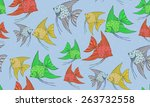 seamless pattern with cute fish....   Shutterstock .eps vector #263732558