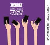 byod design over purple... | Shutterstock .eps vector #263743514