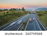 twilight over the highway with... | Shutterstock . vector #263745068