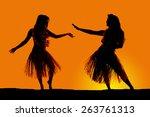 a silhouette of two women... | Shutterstock . vector #263761313