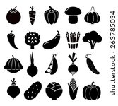vegetables silhouettes icons.... | Shutterstock . vector #263785034