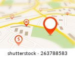 navigation map with red empty... | Shutterstock .eps vector #263788583