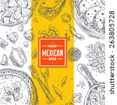 mexican food frame. linear...   Shutterstock .eps vector #263805728