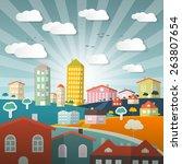 vector landscape town or city... | Shutterstock .eps vector #263807654