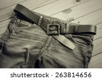 still life with black jeans on... | Shutterstock . vector #263814656