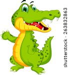 funny crocodile cartoon posing | Shutterstock .eps vector #263832863