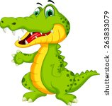 funny crocodile cartoon posing | Shutterstock .eps vector #263833079