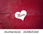 Red Wood Background With Heart...