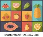 fruit flat icons vector... | Shutterstock .eps vector #263867288