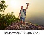 Hiker Taking Selfie On Top Of...