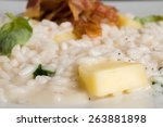risotto with bacon apple and... | Shutterstock . vector #263881898