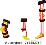 set of orthosis for knees and... | Shutterstock .eps vector #263883764