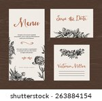 wedding set. menu  save the... | Shutterstock .eps vector #263884154