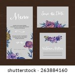 wedding set. menu  save the... | Shutterstock .eps vector #263884160