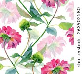 floral pattern. watercolor... | Shutterstock . vector #263902580