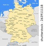 germany map | Shutterstock .eps vector #263911118