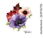 bouquet of  anemone  watercolor ... | Shutterstock . vector #263918750